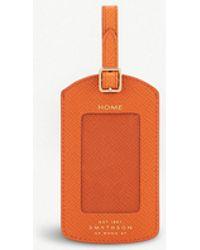 Smythson Panama Leather Luggage Tag - Orange