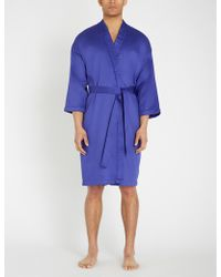 KENZO Signe Logo-embroidered Back Cotton-sateen Robe - Blue