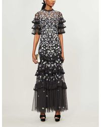 Needle & Thread Meadow Floral Sequin And Tulle Gown - Black