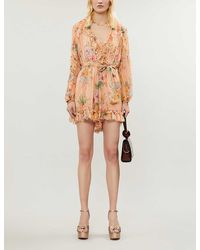 Zimmermann Zinnia Floral-print Silk-georgette Playsuit - Multicolour