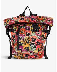 Loewe X Joe Brainard Pansies Floral-print Woven Backpack - Black