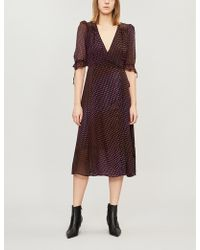 The Kooples - Polka-dot Wrap-over Chiffon Dress - Lyst