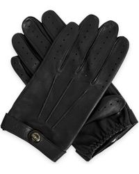 Dents Mens Black Fleming Leather Driving Gloves