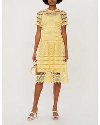 Maje Roseray Fitted Guipure-lace Midi Dress