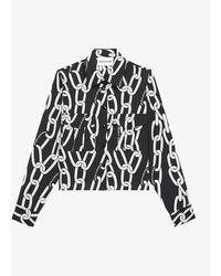 The Kooples Sport Graphic-print Crepe Shirt - Black