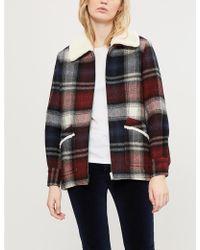 Claudie Pierlot Faux Fur-trimmed Tartan Wool-blend Coat - Multicolour