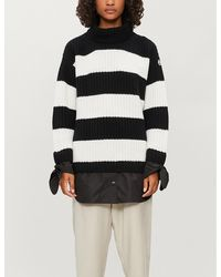Moncler Turtleneck Striped Wool And Shell Sweater - Black