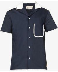 PREVU Lincoln Colour-block Cotton-blend Shirt - Blue