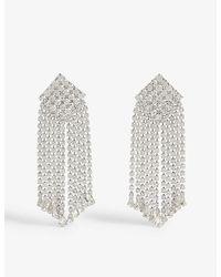 Alessandra Rich Crystal Square Drop Earrings - Metallic