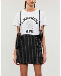 A Bathing Ape Abc Dot University Reflective-print Cotton-jersey T-shirt - White