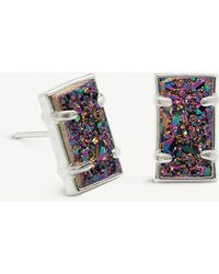 Kendra Scott - Paola Rhodium-plated Brass And Multi-coloured Drusy Earrings - Lyst