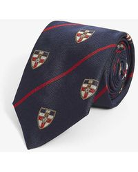 Ralph Lauren Purple Label Crest-print Silk Tie - Blue