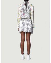 Zadig & Voltaire Ruska Contrasting-pattern Silk Mini Dress - White