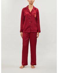 Ralph Lauren Long-sleeved Satin Pyjama Set - Red