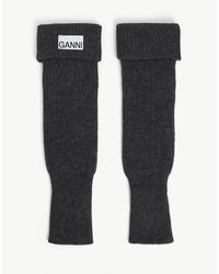Ganni Branded-tab Recycled Wool-blend Wrist Warmers - Black