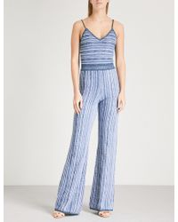Balmain - Striped Knitted Jumpsuit - Lyst