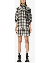RED Valentino Checked Wool-blend Mini Dress - Black
