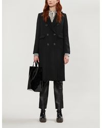 Sandro Double-breasted Wool-blend Coat - Black