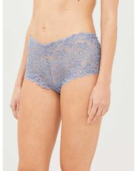 Hanro Moments High-rise Floral-lace Briefs - Blue