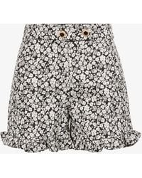 Sister Jane Willow Woods Floral-print Woven Shorts - Black