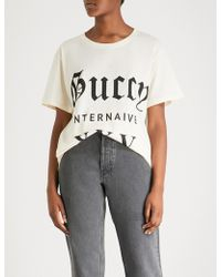 0d088b7551f3 Gucci - Guccy Internaive Xxv Cotton-jersey T-shirt - Lyst