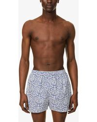 Sunspel X Liberty Floral-print Relaxed-fit Cotton-poplin Boxer Shorts - Blue