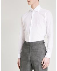 Richard James Patterned Contemporary-fit Cotton Shirt - White