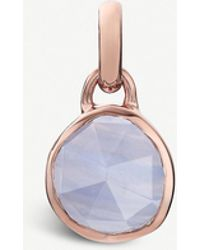 Monica Vinader - Siren Mini 18ct Rose-gold Vermeil And Blue Lace Agate Bezel Pendant - Lyst