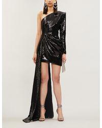 Alex Perry Preston Asymmetric Draped Sequinned Mini Dress - Black