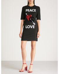 Love Moschino - Peace Love Jersey T-shirt Dress - Lyst