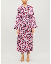 YOLKE Floral Silk-satin Dressing Gown - Multicolor