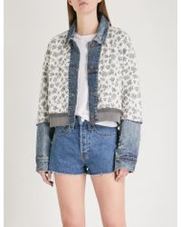 Free People | Ditsy Floral-print Quilted Cotton-blend Denim Jacket | Lyst