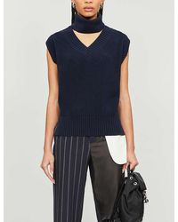 Sacai Turtleneck Cut-out Sleeveless Knitted Jumper - Blue