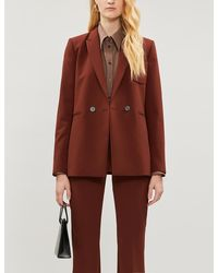 Sandro Double-breasted Stretch-crepe Blazer - Brown