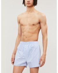 Derek Rose Stripe Cotton Boxer Shorts - White