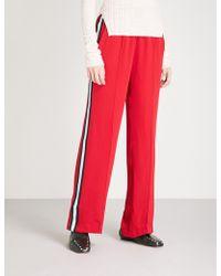 SERENA BUTE LONDON Wide-leg Silk-crepe jogging Bottoms - Red