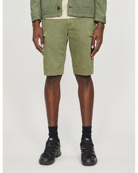 Stone Island Logo-badge Stretch-cotton Shorts - Green