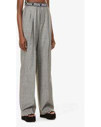 Miu Miu Checked Tapered Mid-rise Wool Pants - Grey