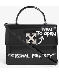 Off-White c/o Virgil Abloh Jitney 2.8 Leather Top Handle Bag - Black