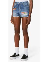 A Bathing Ape Damage Denim Mini Shorts - Blue
