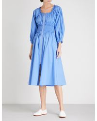 Kitri - Athena Smocked-waist Stretch-cotton Dress - Lyst