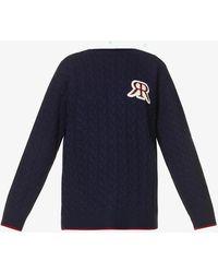 ROKH Logo-print Boat Neck Wool-blend Jumper - Blue