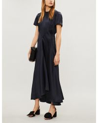 Sportmax - Gathered Satin Maxi Dress - Lyst