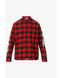 A Bathing Ape Tiger Checked Cotton Shirt - Red