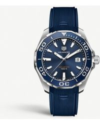 Tag Heuer Way101c.ft6153 Aquaracer Stainless Steel And Rubber Strap Watch - Blue