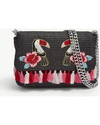 Skinnydip London - Black Floral Aloha Toucan Raffia Cross Body Bag - Lyst