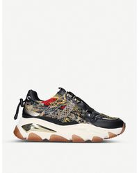 Kurt Geiger Lettie Studded Leather And Mesh Trainers - Multicolour