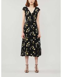 Reformation Wellfleet Floral-print Crepe Midi Dress - Black