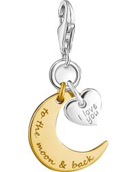 Thomas Sabo | Charm Club Engraved 18ct Yellow Gold And Sterling Silver Moon And Star Charm | Lyst