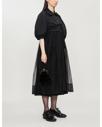Simone Rocha Puffed-sleeve Jersey And Tulle Coat - Black